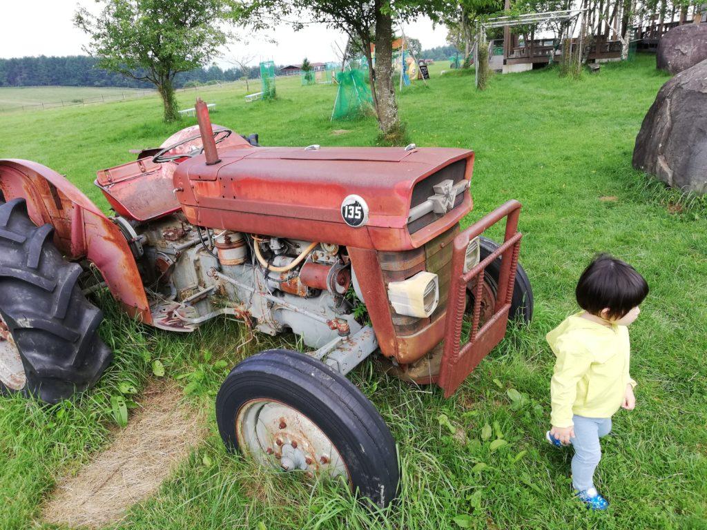 ペットと遊ぶ 長野県長和町 長門牧場 トラクターと子ども